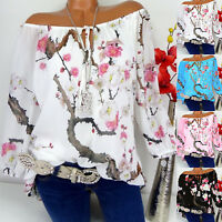 US Womens Off Shoulder Floral Tops Ladies Summer Loose T Shirt Blouse Plus Size