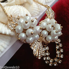 Christmas Gift Set Art Deco Victorian Pearl Cluster Crystal Chain Gold Mom Nan