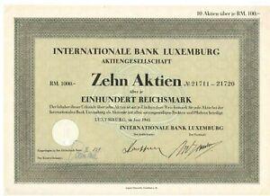 Internationale Bank Luxemburg 1943 1000RM