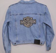Harley Davidson Mens Denim Jacket Size Large Bars and Shield