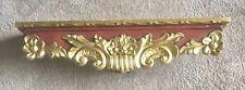 "Antique Vintage Wood Gold Wall Shelf / Wood Display Shelf 29"" x 5.5"" x 7"""