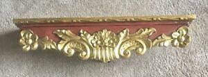 "Antique Vintage Wood Gold Wall Shelf / Wood Display Shelf 29"" x 5.5"" x 7"""