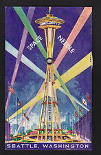 1962 Space Needle rotating mechanical Seattle World's Fair novelty postcard