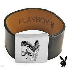 EASTER Playboy Bracelet Silver Swarovski Crystal Bunny Black Leather Cuff 7 inch