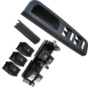 Black LHD Master Control Switch Box Chrome Electric Switches For VW Bora Passat