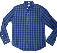 J. Crew M Mens Blue Gray Plaid Check L/S Button Down Shirt Size Medium Cotton