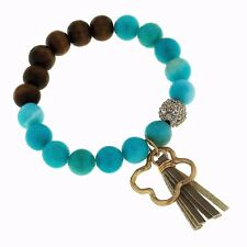 Authentic Canvas Jewelry Quatrefoil Tassel Gemstone Bracelet Dyed Aqu Jade 10015
