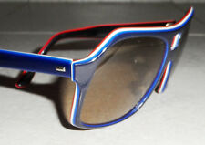 VINTAGE FRANCE SUNGLASSES BLUE WHITE RED AVIATOR GLASS LENS ACETATE HANDMADE NOS
