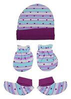 NEW BORN BABY GIRLS HAT, SOCKS & MITTEN WINTER SET - BIO WASHED - (0-6 Months)