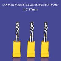3pc Aluminum End Milling Cutter Single Flute CNC Router Cutting Bit 5mm* 17mm