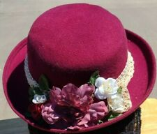 HAT Maroon Felt with Cream Cotton Lace and Mauve, Deep Red and White Roses