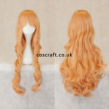 80cm long wavy curly cosplay wig in peach pink, UK seller, Jeri style