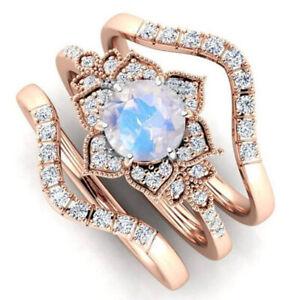 Elegant 925 Silver Women Flower Moonstone Opal Wedding Ring Jewelry Size 5-11