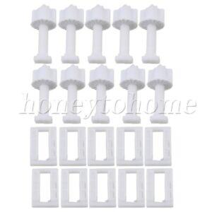 5pcs Plastic White Thread Square Shaped Toilet Seat Hinge Bolts Nuts
