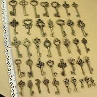 40X Vintage Schlüssel Bronze Mix - Steampunk Gothic Schmuck-Anhänger Basteln NEW