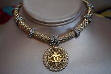 Choker  Amrita Singh Gold / Silver Brass Austrian crystal with Logo Pendant