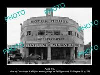 OLD LARGE HISTORIC PHOTO OF PERTH WEST AUSTRALIA, THE C&O MOTOR GARAGE c1930