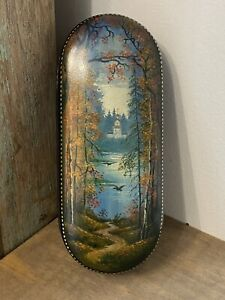 Fedoskino Russian Hand Painted Lacquer Box Church Lake Signed Old Antique Birds