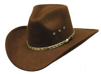 Western Cowboy Hat - Fitted or Elastic S/M L/XL - Brown Pinch Front