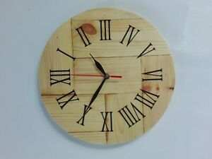 Wooden Wall Clock Roman Numerals handmade round simple antique as modern natural