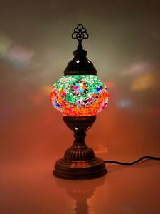 Turkish Moroccan Mosaic Lamp Tiffany Multi Glass Desk Table Lamp with Free Bulb