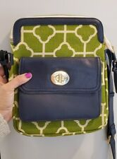 Spartina 449 Daufuskie Island Green Linen pattern and navy Leather Crossbody bag
