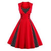 Women's Polka Dot Vintage 1950s Rockabilly Casual Evening Party Swing Dress 6-18