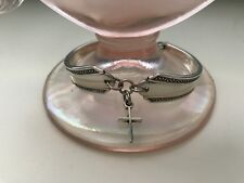 Vintage Fashion Upcycle Antique Silver Plated Spoon Bracelet / CROSS