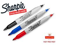 Sharpie Twin Tip - Fine & Ultra Fine - Black, Blue, Red - 1 to 12 Pens