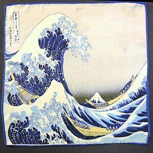 The Great Wave Off Kanagawa - Hokusai | Hand Rolled Satin Silk Pocket Square