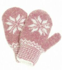 Girls' Knit Wool Blend Pink Mittens with White Snowflake Pattern (size 4.5)