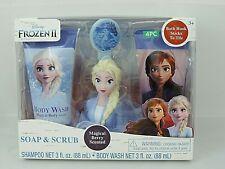 Disney Frozen II Elsa Bath Set Shampoo 3 oz Body Wash 3 oz Bath Scrubby & Hook