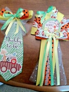 Baby shower safari/ jungle mommy & daddy corsage and tie set