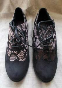 New Lace & Suede Brogues.Black Gothic Fashion True to Size 4 Steampunk
