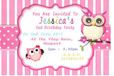 10 Personalised Owl Birthday Party Invitations / Thank You Cards