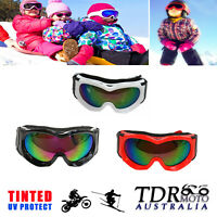 Youth Kids Tinted Motocross Snow SKI GOGGLES Antifog UV Protection MX Dirt Bike