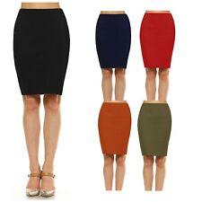 Womens Pencil Midi Skirt Stretch Mid Waist Basic Bodycon Ponte Casual S ~ XL