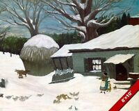 SNOW COVERED NEW ENGLAND FARM IN WINTER PAINTING FOLK ART REAL CANVAS PRINT