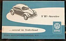 1962 VW Service Map Nederland Dealer List Netherlands Volkswagen RARE