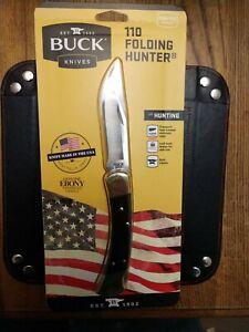 Buck Knife 110 Folding Hunter Leather Sheath Ebony Wood Handle 110BRS USA Made