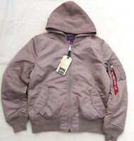 ALPHA INDUSTRIES MA1 Natus Bomber Hooded Flight Jacket Pilot Mauve Rose Men's L
