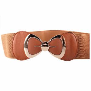 Womens Waist Belt Stretch Buckle Bow Wide Elastic Dress Cinch Corset Waistband