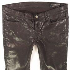 Ladies Womens All Saints PETREL BRODIE Extreme Skinny Leg Capri Black Jeans W30