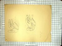 Antique Print Black And White Sketch Helen Mckie Drawing Two Hands Fingers