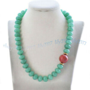 5x8mm Green Aventurine Rondelle Gems Beads 14mm Round Red Coral Pendant Necklace