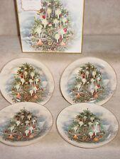 NEW NOSTALGIC CHRISTMAS TREE SALAD PLATES POTTERY BARN SET OF 4