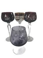 Lot (4) Vintage Cut Color Amethyst Cranberry Purple Czech Bohemian Wine Glasses