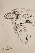 JOSE TRUJILLO - Original Charcoal Paper Sketch Drawing 11X17 SEATURTLE DECOR
