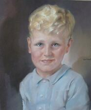 Jan Franken (Holland 1878-1959) Portrait of a Boy Pastel Painting c1940s