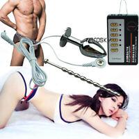 Men-Electro-E-Stim-Shock-Urethral-Plug-Sound Penis-Stretching Dilator-Anal-Estim
